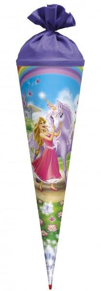"""Roth Schultüte """"Prinzessin mit Einhorn"""" 70cm mit Glittereffekt - rund"""
