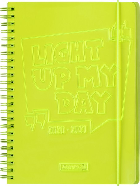 Baier & Schneider Schülerkalender 20/21 A5 2Seiten=1Woche PVC Light Up gelb