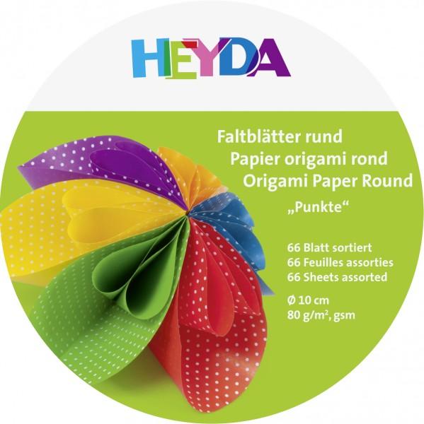 Baier & Schneider Faltblätter rund 10cm 80g 100Blatt Punkte sortiert