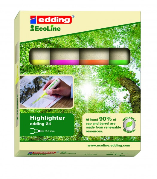 edding Textmarker 24 EcoLine Highlighter 4er Kartonageset