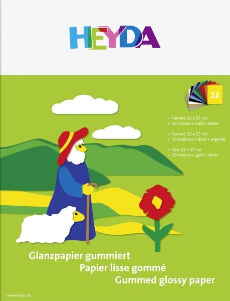 Baier & Schneider Glanzpapier 22x25cm gummiert 12Blatt farbig sortiert
