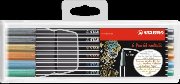 Stabilo Fasermaler Pen 68 metallic 6er-Etui