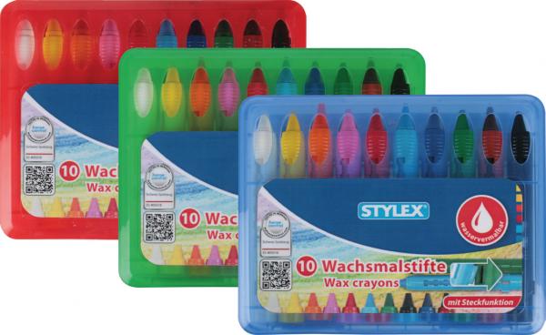 Stylex Schreibwaren Wachsmalstifte wasservermalbar 10er-Etui