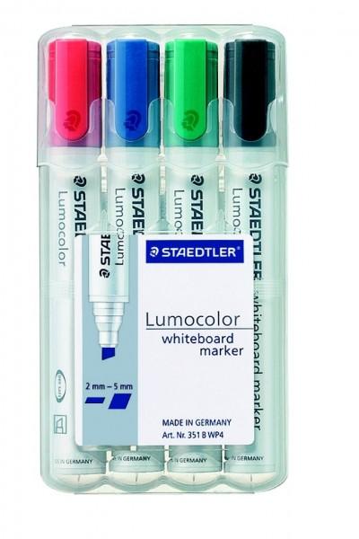 STAEDTLER Whiteboardmarker Lumocolor 351 Keilspitze 4er Etui