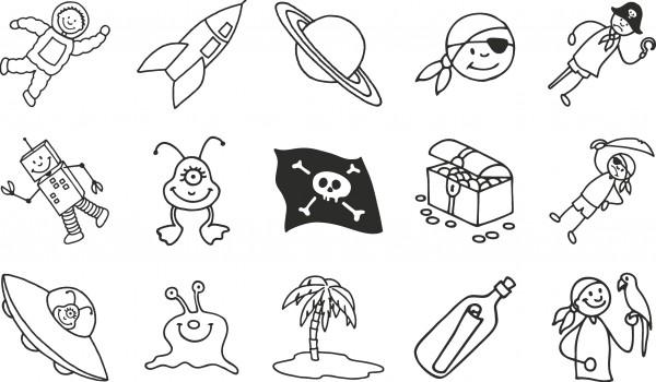 Baier & Schneider Stempelset Piraten & Raumfahrer
