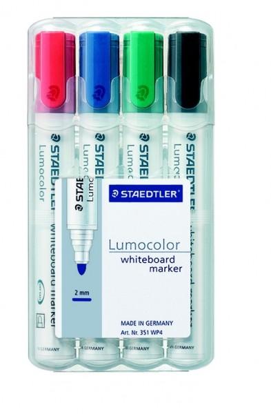 STAEDTLER Whiteboardmarker Lumocolor 351 Rundspitze 4er Etui