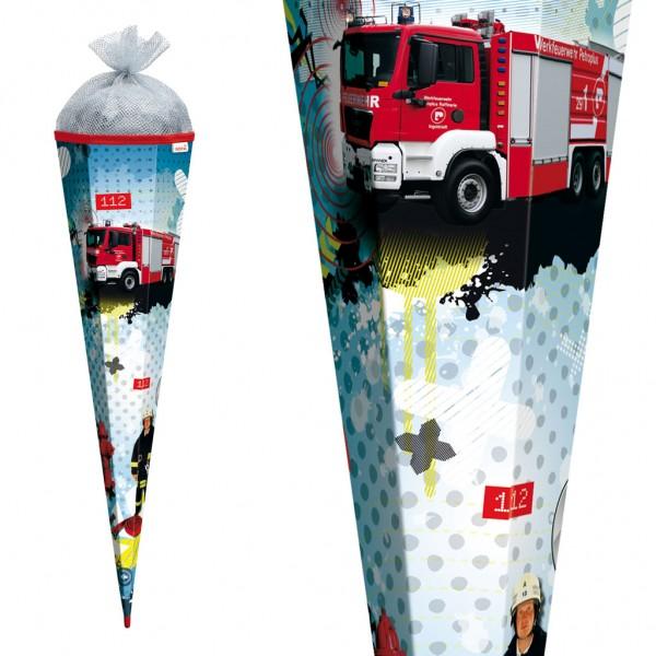 """Roth Schultüte """"Feuerwehr"""" 85cm mit Lichteffekt und Silbertüll"""