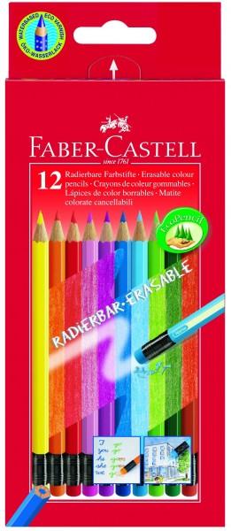 A.W. Faber-Castell Farbstift RADIERBAR Etui 12 Farben