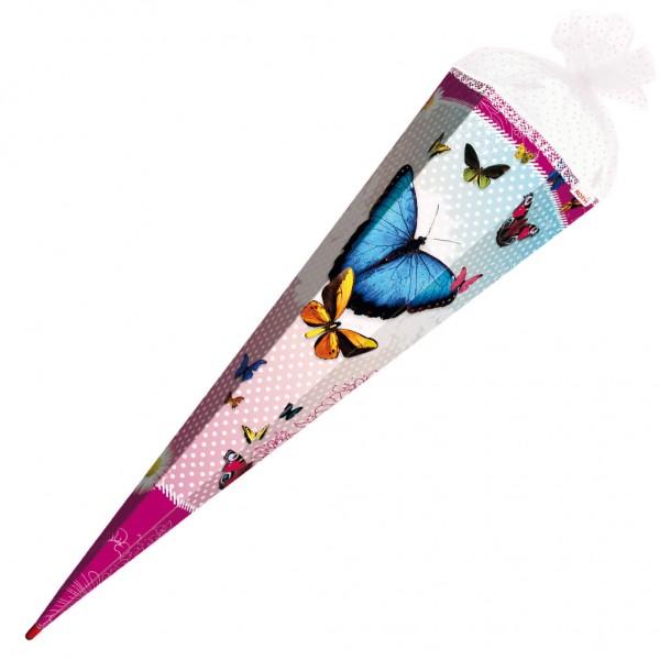 """Roth Schultüte """"Butterfly"""" 85cm mit Glitter, Rüschenborte"""