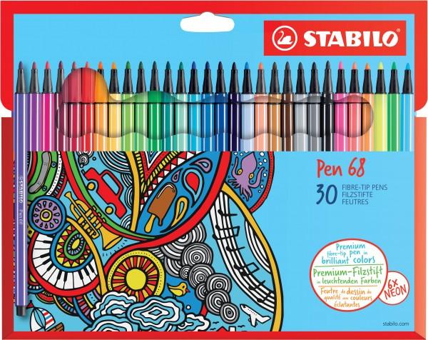 STABILO Fasermaler Pen 68 30er-Kartonetui
