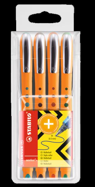 Stabilo Tintenroller worker+ 0,5mm 4er-Etui