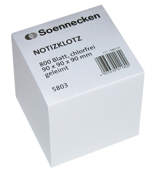 Soennecken eG Notizklotz 5803 9x9x9cm 800Blatt weiß