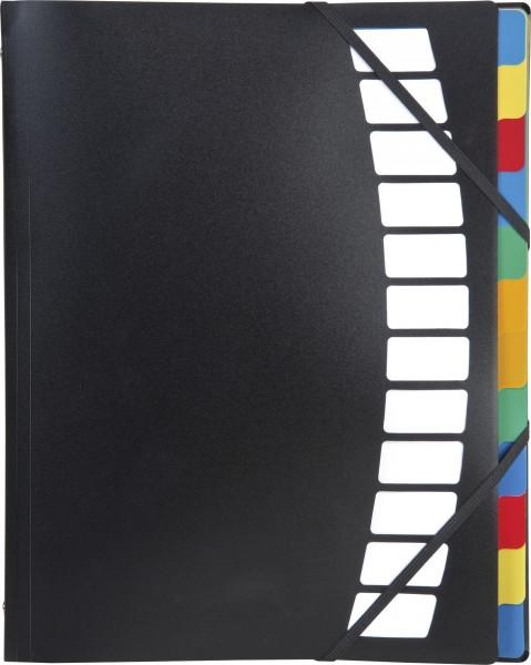 Baier & Schneider Ordnungsmappe A4 schwarz 12teilig Kunststoff