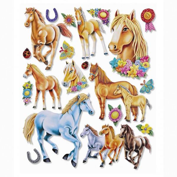 """Roth 3D-Sticker XXL """"Pferde"""" 30x30cm 19er"""