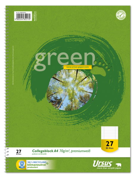 Format Werk Collegeblock A4 Lin.27 70g Ursus Green