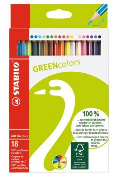 STABILO Farbstiftetui GREENcolors 18 Stifte