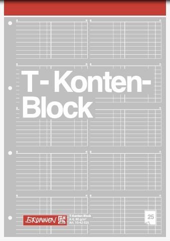 Baier & Schneider T-Konten-Block A4 25Blatt