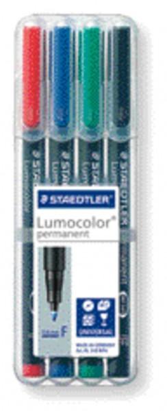 STAEDTLER Folienstift Lumocolor 4St Box permanent