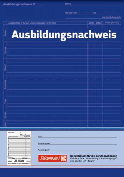 Baier & Schneider Ausbildungsnachweis-Block A4 1Seite=1Woche