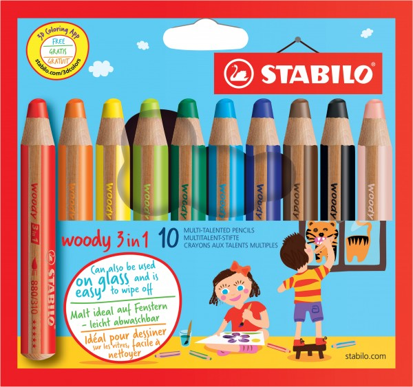 STABILO Aquarellfarbstift woody Etui 10 Farben