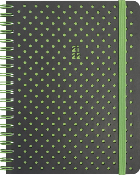 Baier & Schneider Schülerkalender 21/22 A6 2Seiten=1Woche PU Grey&Green